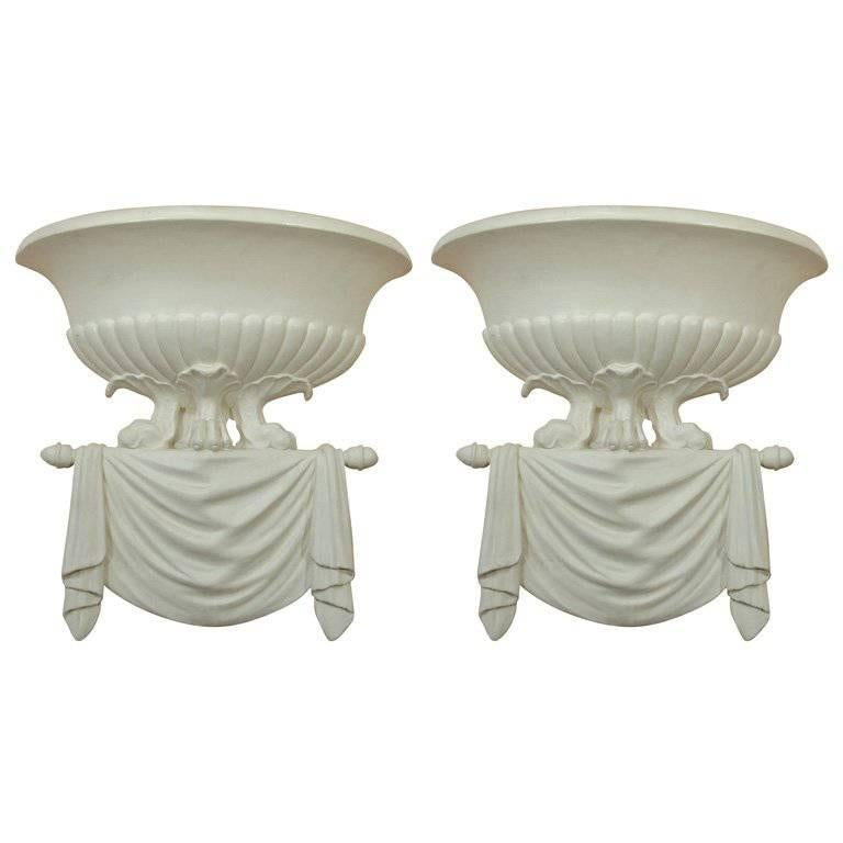 Pair Of Dorothy Draper Style Plaster Wall Sconces For Sale At 1stdibs