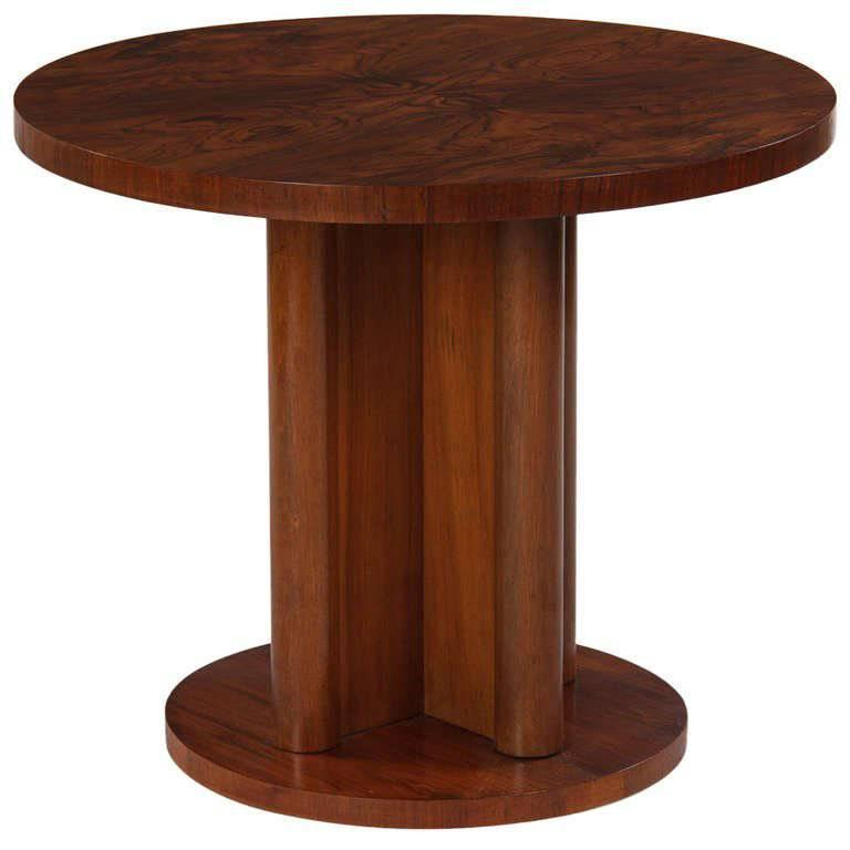French Art Deco round walnut side table, 1930s