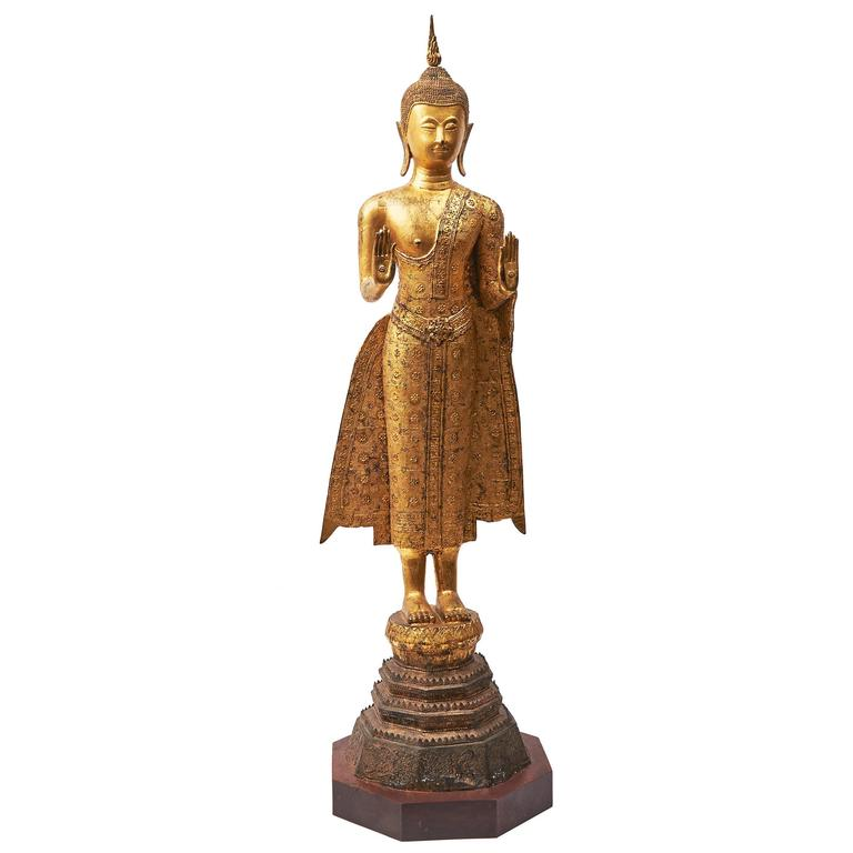 Gilt Bronze Thai Standing Buddha, 19th Century