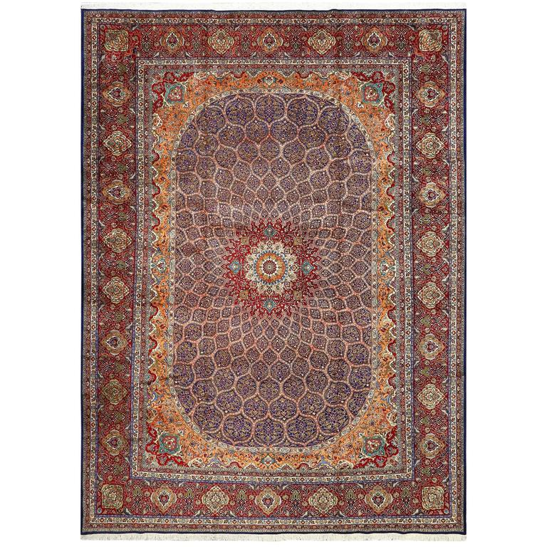 Vintage Gonbad Design Tabriz Persian Rug