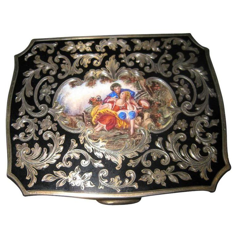 19th Century Sterling Silver and Enamel Card Case