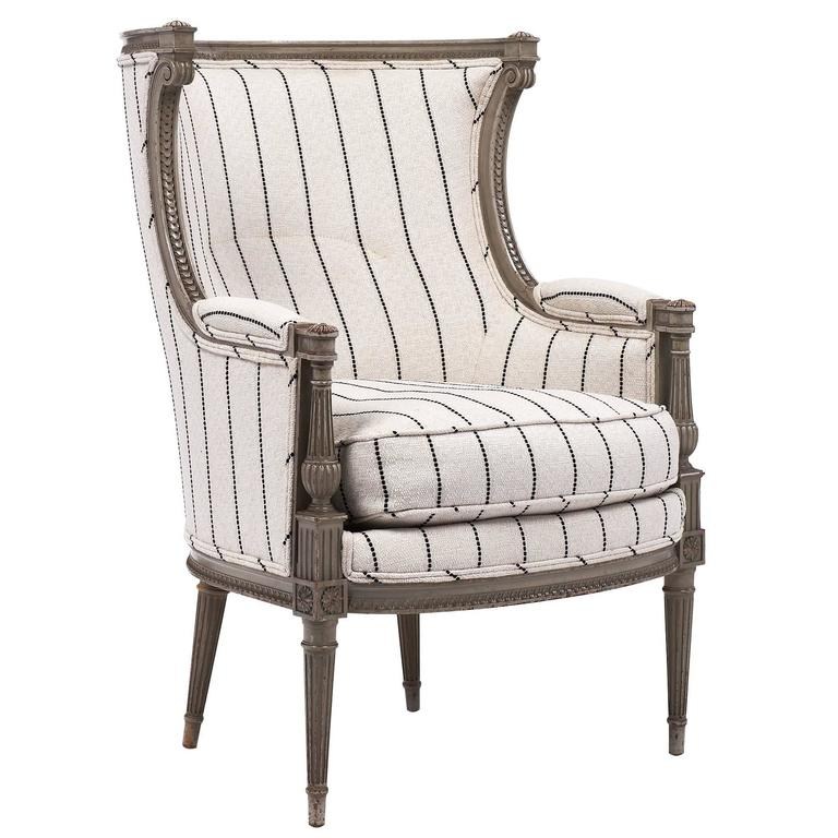 Louis XVI Style Striped 19th Century Bergère 1