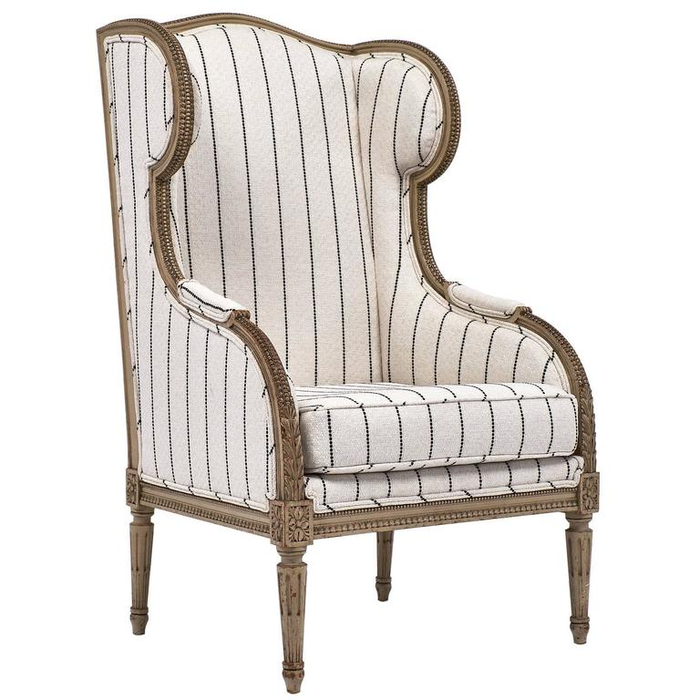 Antique French 19th Century Striped Louis XVI Style Bergère For Sale