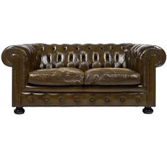 English Vintage Chesterfield Leather Sofa