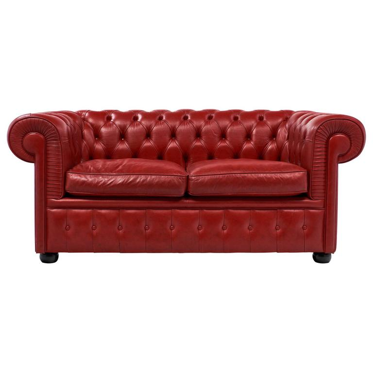 Vintage English Red Chesterfield Sofa