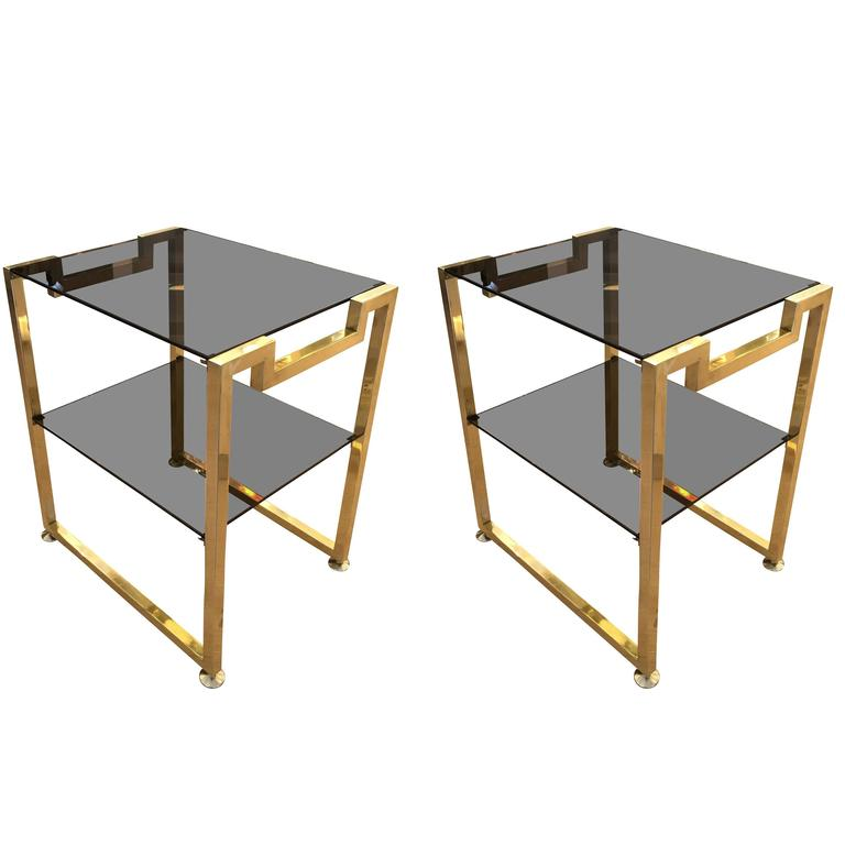 Pair of Brass Side Tables in the Manner of Romeo Rega