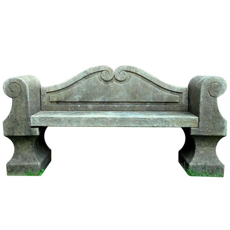 Italian 20th Century Limestone Bench with Back For Sale