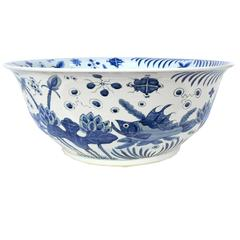 Monumental Chinese Blue and White Ocean Bowl
