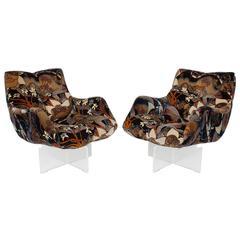 Pair of Lucite Base Swivel Lounge Chairs by Vladimir Kagan