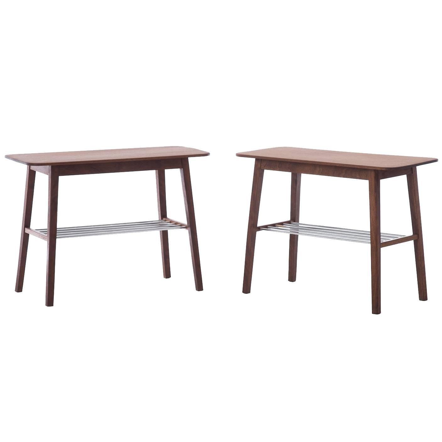 Danish Modern Side Tables with Metal Shelf