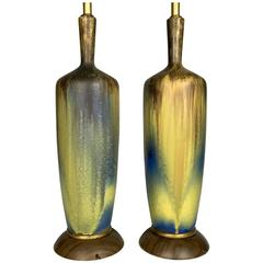Pair of Large Mid-Century Volcanic Drip Ceramic Lamps