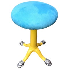 Sunshine-Yellow Industrial Stool In Faux Blue Suede Seat, Dated 1873