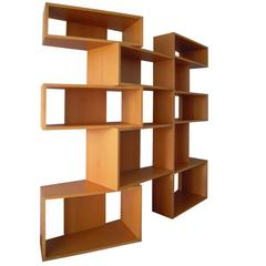 Wide Beech Wood Double Side Italian Bernini Bookcase by Franco Poli