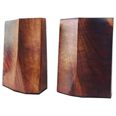 Rude Osolnik Freeform Walnut Bookends Scandinavian Mid Century Style