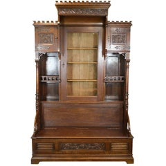 Gothic Revival Bookcase with Bench and Storage, circa 1875