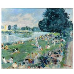 Summer in the Park, Paris by Lucien Adrion, French Post Impressionist