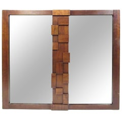 Mid-Century Brutalist Wall Mirror by Lane