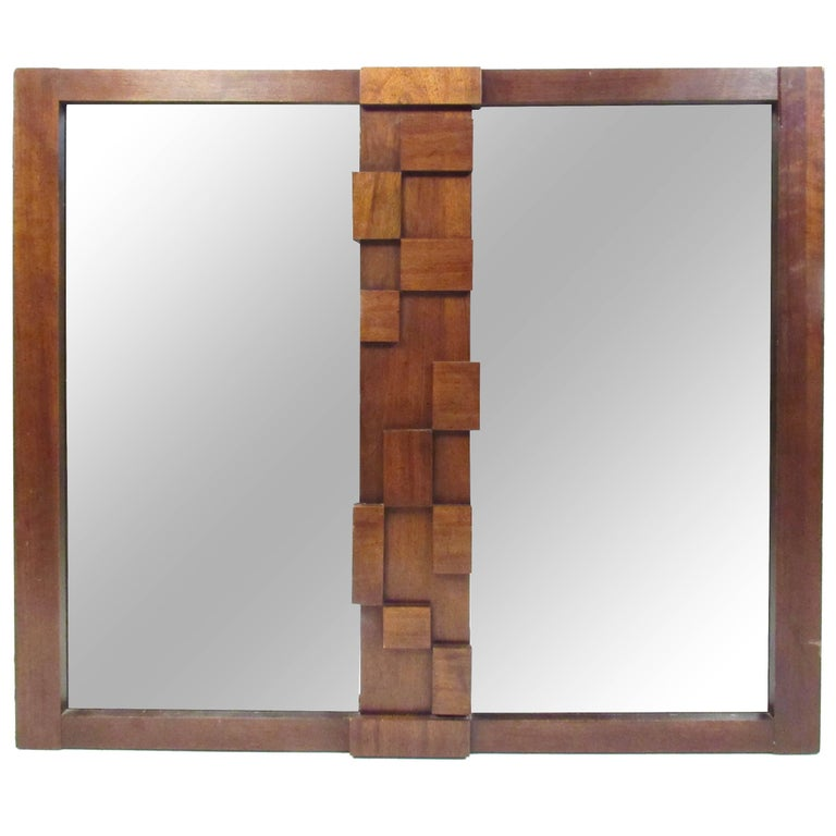 Mid-Century Brutalist Wall Mirror by Lane For Sale