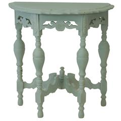 Vintage Carved Demilune Table