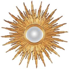 Mid-Century French Giltwood Convex Sunburst Mirror