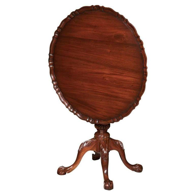 Carved Mahogany Tilt Top Pie Crust Table For