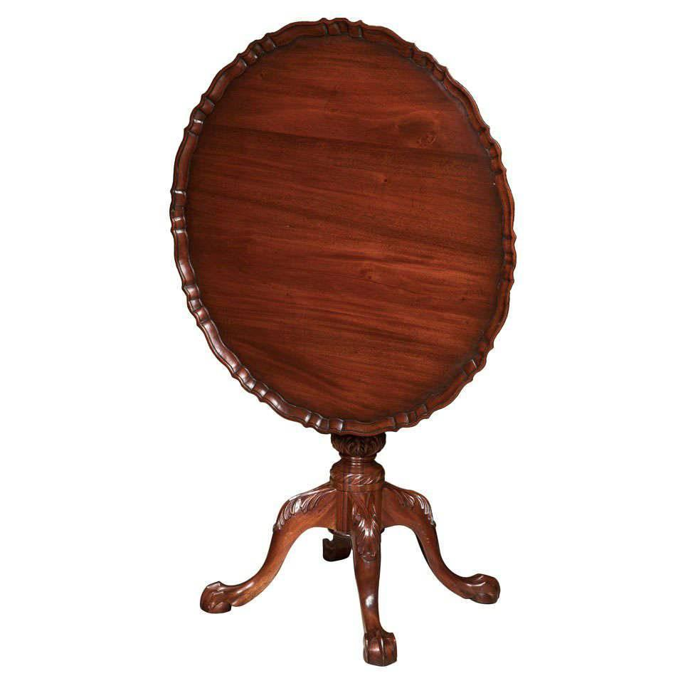 Carved Mahogany Tilt Top Pie Crust Table