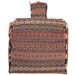 Late 19th Century Red Afshar Weft Flat-Weave Salt Bag Rug