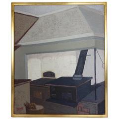 Indoor Kitchen Scene Oil on Canvas by Swedish Artist Greta Gerell