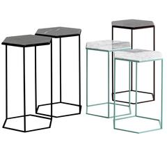 Moroso Hexxed Side Table in Color Varnished Steel and Marble