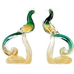Pair of Salviati Murano Gold Fleck Italian Art Glass Pheasant Bird Sculptures