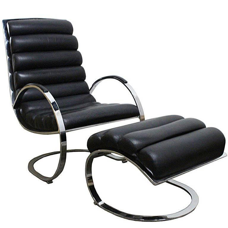 Milo Baughman Leather Lounge Chair and Ottoman