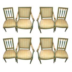 Set of Eight Painted Italian Directoire Dining Chairs