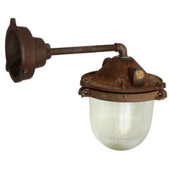Cast Iron Industrial Wall Light Holophane Glass (8x)