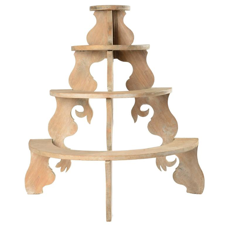 Whimsical Wood Three Tier Stand for Plants or Collectibles