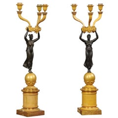 Pair of Empire Gilt Bronze Candelabra with Black Patinated Figures, France, 1810