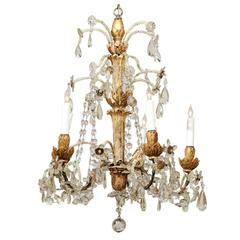 Neoclassical Style Giltwood and Crystal Chandelier with Flowers, 19th Century