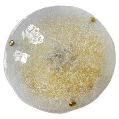 Large Textured Murano Glass Flush Mount by Hillebrand, Germany, 1960s