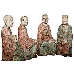 Asian 'Arhat' Sculptures, Prob, 19th Century