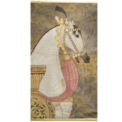Equestrian Decor Portrait, Painted on Linen, French Contemporary Work