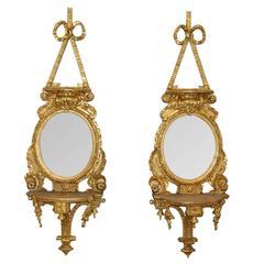 Pair of Antique 19th Century Gilt Mirror Sconces