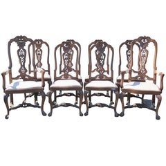 Eight Ball and Claw Carved Upholstered Dining Chairs