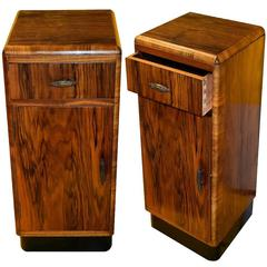 English Art Deco Pair of Bedside Table Cabinets