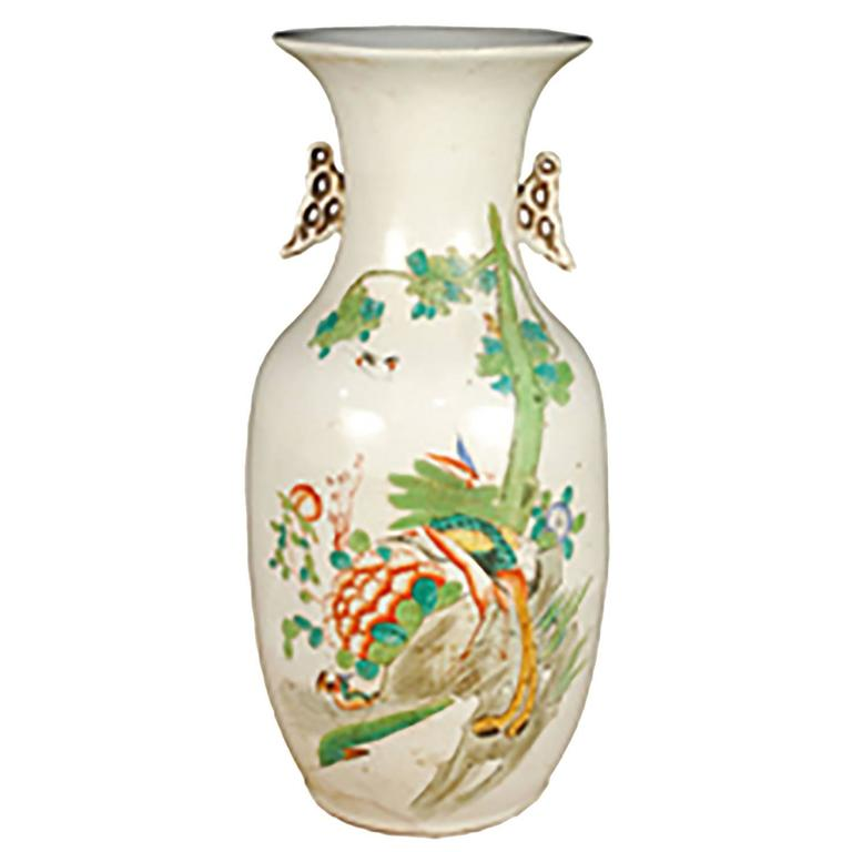 Chinese Peacock Phoenix Tail Vase