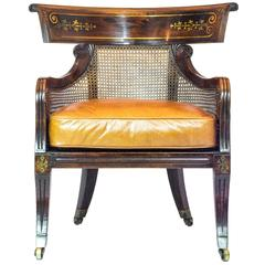 19th Century English Regency Caned Klismos Library Armchair with Leather Cushion