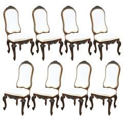 Set of 8 French Country Baroque Style Upholstered High Back Dining Room Chairs