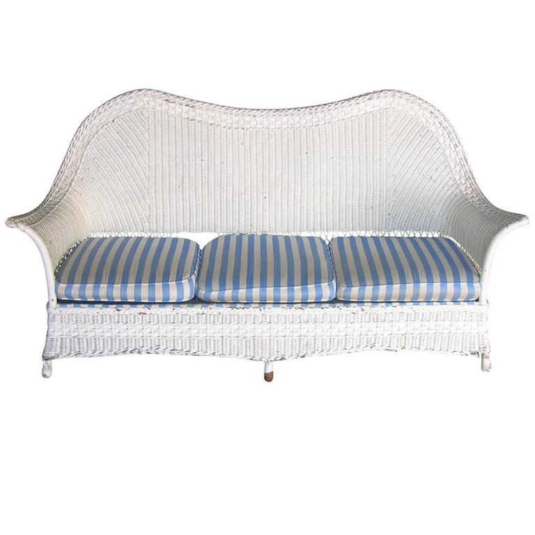 1930s American White Wicker Sofa