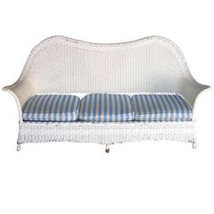 1930s American White Wicker Sofa