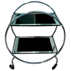 Art Deco English Two-Tier Chrome and Glass Hostess Bar Cart