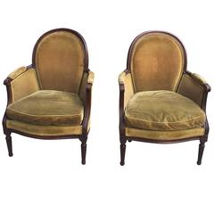 19th Century French Pair of Directoire Style Carved Chairs with Green Velvet