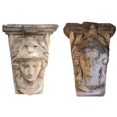 1920s Pair of Terracotta Female Heads from a Building in Queens